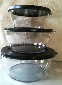 NEU kleines Tupperware 3 er Schüssel Set Clear Collection Deckel in schwarz edel