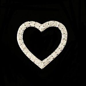 MICHAEL HILL Solid 10K White Gold Diamond Set Heart Shaped Slider Pendant 0.25tw