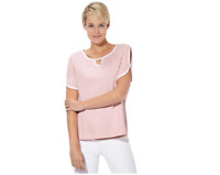 Rose Pink Pure Cotton Short sleeve Cold shoulder Summer Tunic Top Plus Size 24