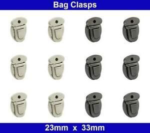 Bag Clasps  - 23mm x 33mm - Closures Catch Lock - Black, Nickel - Zinc Die Cast