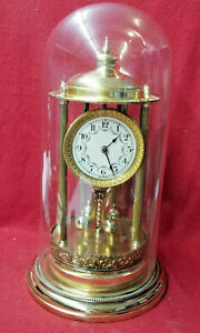 Special Brass 6 Fluted Column 'Bandstand' Model German Anniversary Clock & Dome