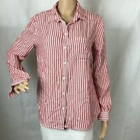 Beach Lunch Lounge Size M Red White Stripe Button Front Top