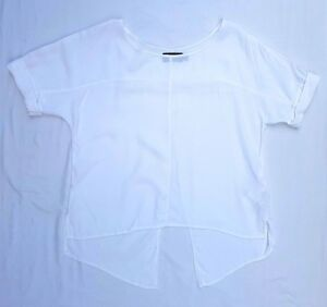 AS NEW Minkpink Size S Top Blouse Short Sleeve Cuffs Split Back Casual
