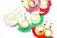 NEW BOHO FESTIVAL GYPSY HOOP DISCS TASSEL TASSLE FRINGE EARRINGS BEAD  UK SELLER