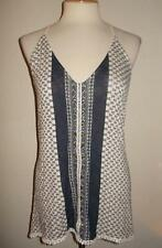 MAURICE'S MS SIZE LARGE NAVY BLUE AND CREAM FLORAL PRINT SLEEVELESS FASHION TANK
