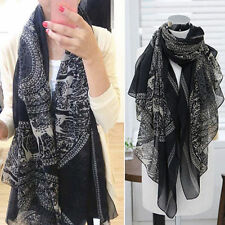 Black And White Elegant Lady's Warm Vintage Long Soft Cotton Scarves Cozy Scarf