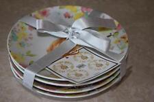 222 Fifth Sydney Easter Bunny Floral Round Appetizer Dessert Plates - Set of 4