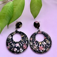 Beautiful Vintage Floral Design Laser Cut Dangle Wooden Earrings/ Boho/Bohemian