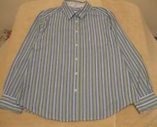 Appleseed's Size 18 Button Front Green Blue White Striped Shirt, long sleeves