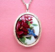 Porcelain BLUE HUMMINGBIRD CAMEO ST Locket Pendant Necklace Birthday Day Gift