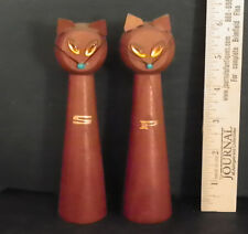 VINTAGE SET OF TALL WODEEN CAT SALT AND PEPPER SHAKERS W/RHINSTONES 5485O