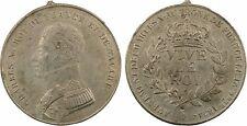 Charles X, avénement au trône, médaille populaire, 1824, étain - 28