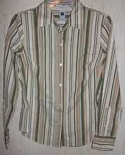WOMENS / JUNIORS GAP STRETCH L/S KHAKI STRIPE SHIRT   SIZE M