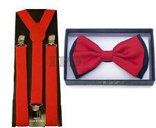 Elegant Two Tone Red BowTie Striped Black & Red Bow Tie & Suspender Set