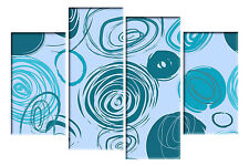 LARGE TEAL TURQUOISE DUCK EGG BLUE CANVAS CIRCLES WALL  PICTURE 4 PANEL 100CM