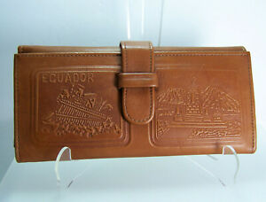 Ecuador Embossed All Leather Checkbook Wallet Compartments and CC Slots NOS