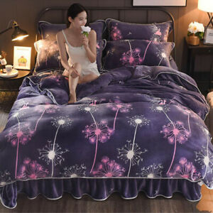 Dandelion  Flannel Winter Warm Bedding Set Duvet Cover Bed Sheet Sets Four-piece