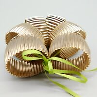 Vintage Gold Ribbed Napkin Holders Rings Excellent Condition Set of 6