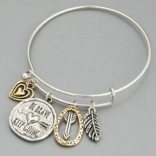 Silver Gold Heart Arrow Feather Be Brave Keep Going Charm Bangle Bracelet