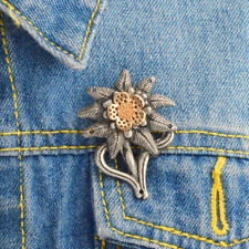 WW2 German Army Elite Mountain Edelweiss Badge Denim Jacket Collar Brooch Pin UD