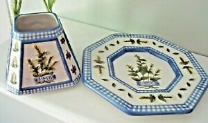Mary Hughes Design HERB CANDLE PLATE & SHADE Set Blue Gingham BASIL Violets DILL