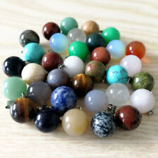 Wholesale natural stone pendants charm mixed round ball for jewelry making 50pcs