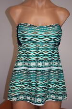 NWT Jessica Simpson Swimsuit Bikini tankini 2 pc set Sz XL Navy Multi Strapless