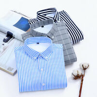 Mens Dress Shirts Long Sleeve Luxury Striped Formal Slim Casual Business