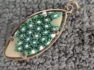 Turquoise Murano glass Millefiori pendant set in silver