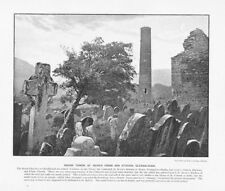 IRELAND Tower & St Kevin Cross at Glendalough Antique Photographic Print c1896