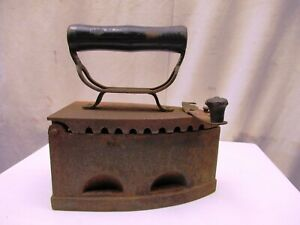 "Antique Coal Iron Charcoal Burning Sad Iron Old Clothes Iron Wooden Handle Rare"""