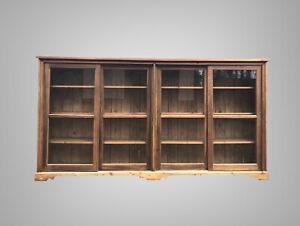 Huge Vintage Pine Glazed Display China Bookcase Drinks Cabinet Cupboard