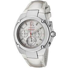 Seiko Women's SRW897 Sportura Chronograph Diamond White Dial White Leather Watch