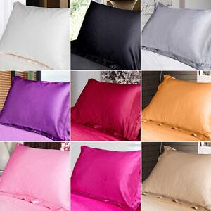 Standard Queen Satin Silk Pillow Cases Cushion Cover Solid Pillowcase Decor au