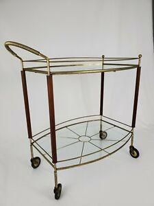 Mid-Century Danish Modern Glass Brass Walnut Rolling Bar Cart 1960s