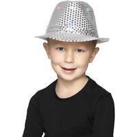 Boy's Silver Light Up Sequin Trilby Fancy Dress Hats Kids Parties Dance Shows