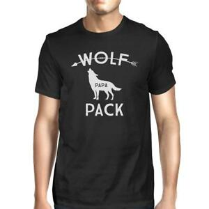 Wolf Papa Mens Black T-Shirt Unique First Fathers Day Gifts For Him
