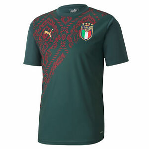 Italy Football Stadium Third Short Sleeve Jersey Top T-Shirt Mens Green
