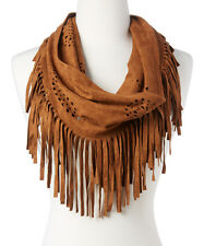 NEW! Cowgirl Western BROWN Suede  Perforated Fringes Geo Tribal Print Scarf