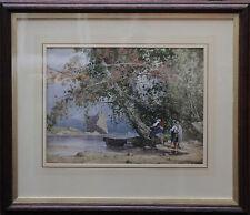 British 1890 ACQUERELLO ITALIANO lago scene-mozzafiato Vittoriano Arte Paesaggio