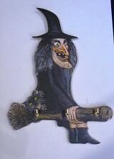 WITCH,WALL HANGING KEY RACK,BROOMSTICK,BLACK CAT