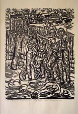 LITHUANIAN VIKTORAS PETRAVICIUS FIGHTERS FOR FREEDOM,1948 Linoleum Cut Woodblock