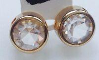 boucles d'oreilles clous couleur or rhodié cristal solitaire diamant ø 1cm  662