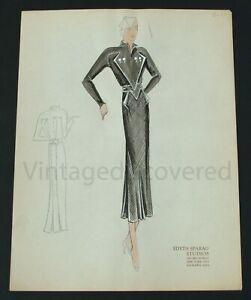 1930's Vintage Fashion Design Original Art Color Drawing #4 Edyth Sparag Studios