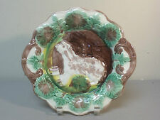 "ANTIQUE ENGLISH MAJOLICA 10.5"" CABINET PLATE, DOG and DOGHOUSE DESIGN"