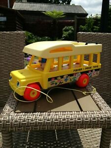 Fisher Price Vintage 1980's  Yellow School Bus Toy, VG Vintage Condition