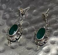 Vintage 925 Sterling Silver Dangle Drop Earrings Green Stones & Marcasite