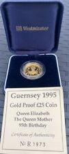 More details for guernsey 1995 gold proof £25 coin queen elizabeth the queen mother 95th birthday