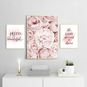 Pink Flower Canvas Art Print Floral Fashion Poster Wall Picture Decoration