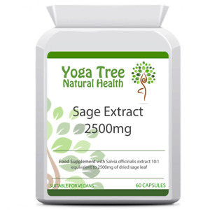 Yoga Tree Sage Extract Supplement 2500mg 60 Capsules Hot Flushes Night Sweats